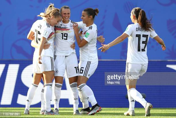 Lea Schueller of Germany celebrates with teammates after scoring her team's third goal during the 2019 FIFA Women's World Cup France Round Of 16...