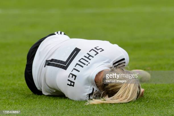 Lea Schueller of Germany injured on the ground during the FIFA Women's World Cup 2023 Qualifier group H match between Germany and Serbia at Stadion...