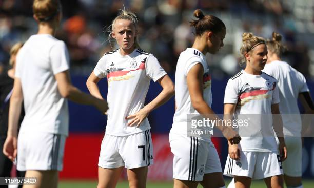 Lea Schueller of Germany looks on during the warm up prior to the 2019 FIFA Women's World Cup France Round Of 16 match between Germany and Nigeria at...