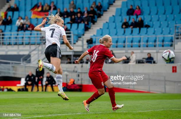 Lea Schueller of Germany scores her team's second goal past Sara Pavlovic of Serbia during the FIFA Women's World Cup 2023 Qualifier group H match...