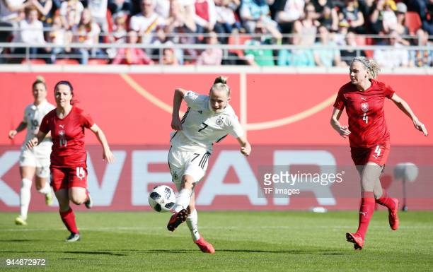 Lea Schueller of Germany scores the team`s first goal during the 2019 FIFA Womens World Championship Qualifier match between Germany Womens and Czech...