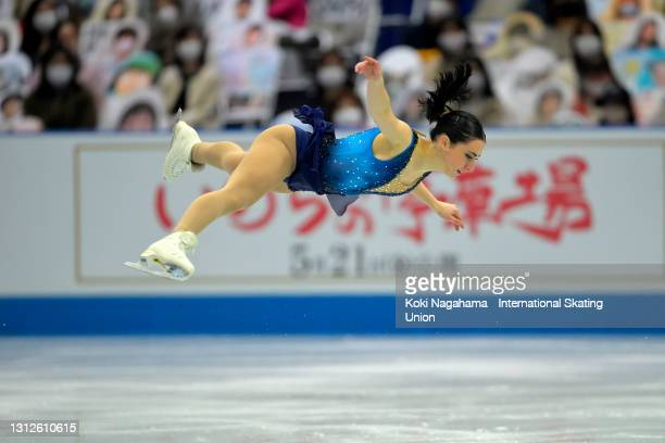 Lea Serna of France competes in the Ladies Single Short Program on day one of ISU World Team Trophy at Maruzen Intec Arena Osaka on April 15, 2021 in...