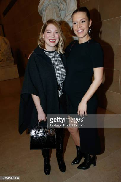 Lea Seydoux and Adele Exarchopoulos attend the Louis Vuitton show as part of the Paris Fashion Week Womenswear Fall/Winter 2017/2018 on March 7 2017...