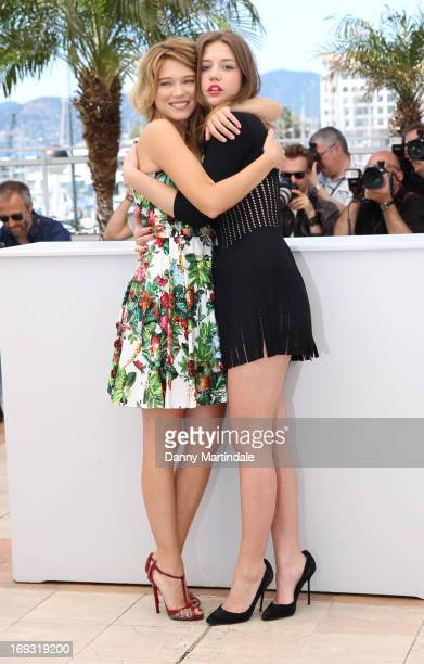 Lea Seydoux and Adele Exarchopoulos attend the Photocall for 'La Vie D'Adele' during The 66th Annual Cannes Film Festival at the Palais des Festival...
