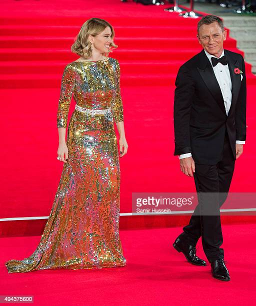 Lea Seydoux and Daniel Craig attends the Royal Film Performance of 'Spectre' at Royal Albert Hall on October 26 2015 in London England