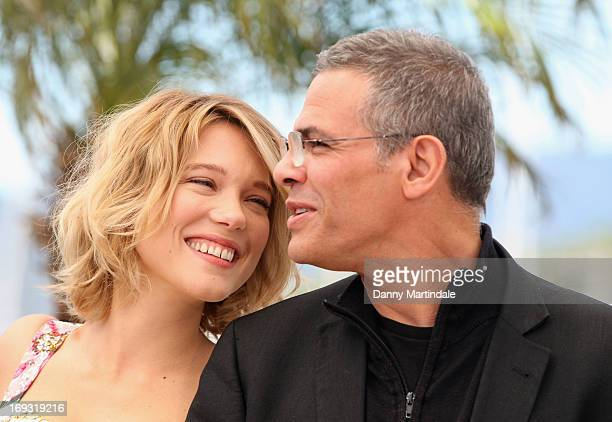 Lea Seydoux and director Abdellatif Kechiche aattend the Photocall for 'La Vie D'Adele' during The 66th Annual Cannes Film Festival at the Palais des...