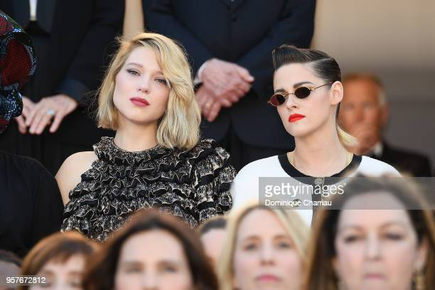 Lea Seydoux and Kirsten Stewart with other filmmakers on the steps of the red carpet in protest of the lack of female filmmakers honored throughout...