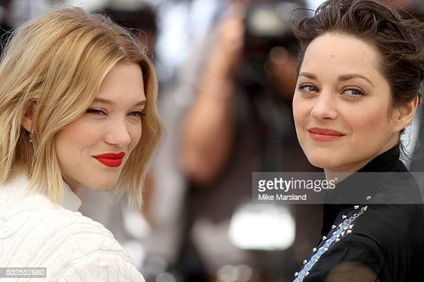 Lea Seydoux and Marion Cotillard attend 'It's Only The End Of The World ' during the Photocall The 69th Annual Cannes Film Festival on May 19 2016 in...