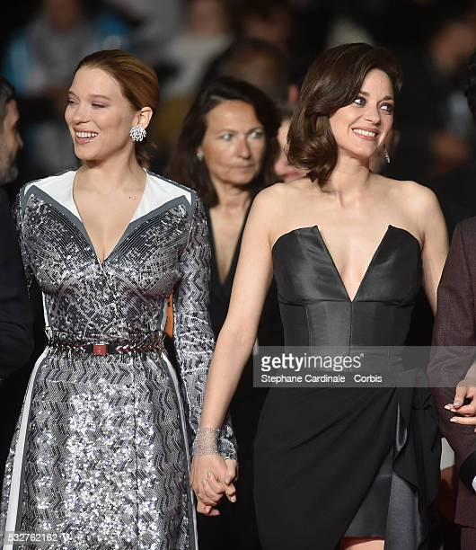 Lea Seydoux and Marion Cotillard attend the It's Only The End Of The World Premiere during the 69th annual Cannes Film Festival at the Palais des...