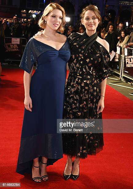 Lea Seydoux and Marion Cotillard attend the 'It's Only The End Of The World' BFI Flare Special Presentation screening during the 60th BFI London Film...