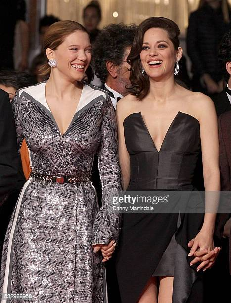 Lea Seydoux and Marion Cotillard attends a screening of It's Only The End Of The World at the annual 69th Cannes Film Festival at Palais des...