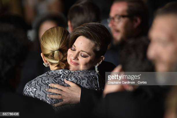 Lea Seydoux and Marion Cotillard embrace after the It's Only The End Of The World Premiere at the annual 69th Cannes Film Festival at Palais des...