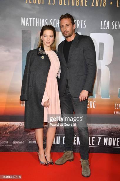 Lea Seydoux and Matthias Schoenaerts attend Kursk Paris Premiere at La Cite Du Cinema on October 25 2018 in SaintDenis France
