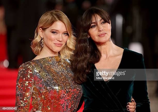 Lea Seydoux and Monica Bellucci attend the Royal Film Performance of 'Spectre' at Royal Albert Hall on October 26 2015 in London England
