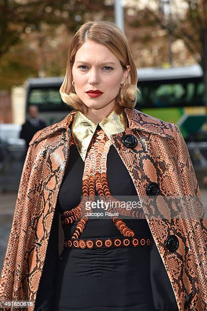 Lea Seydoux arrives at the Miu Miu Fashion Show during the Paris Fashion Week S/S 2016 Day Nine on October 7 2015 in Paris France