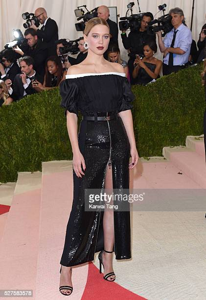 Lea Seydoux arrives for the 'Manus x Machina Fashion In An Age Of Technology' Costume Institute Gala at Metropolitan Museum of Art on May 2 2016 in...