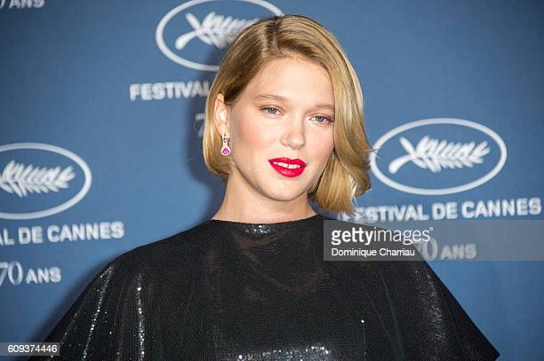 Lea Seydoux attends the Cannes Film Festival 70th Anniversary Party at Palais Des Beaux Arts on September 20 2016 in Paris France