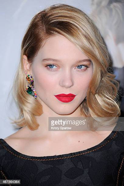 Lea Seydoux attends the 'Journal D'Une Femme De Chambre' Paris Premiere at MK2 Bibliotheque on March 23 2015 in Paris France