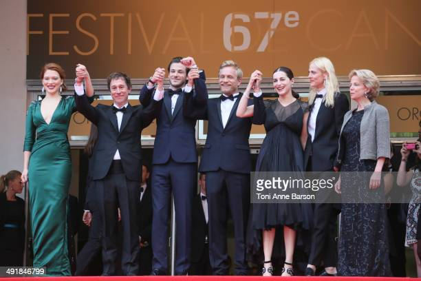 Lea Seydoux Bertrand Bonello Gaspard Ulliel Jeremie Renier Amira Casar Aymeline Valade and guest attend the Saint Laurent premiere at the 67th Annual...