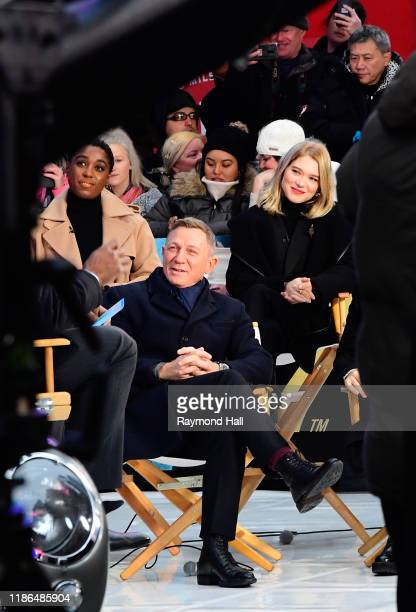 Lea Seydoux Daniel Craig and Lashana Lynch are seen outside Good Morning America on December 4 2019 in New York City
