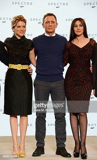 Lea Seydoux Daniel Craig and Monica Bellucci attend a photocall with cast and filmmakers to mark the start of production which is due to commence on...