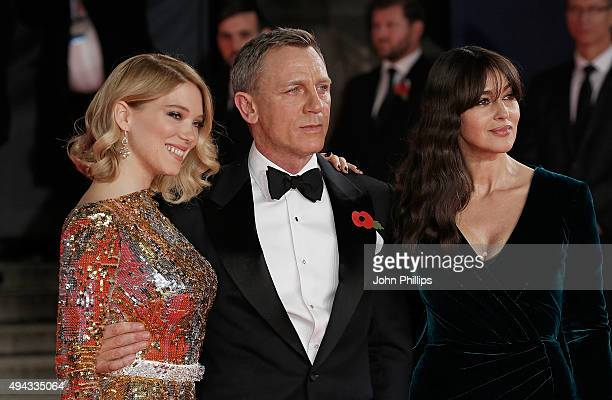 Lea Seydoux Daniel Craig and Monica Bellucci attend the Royal Film Performance of 'Spectre'at Royal Albert Hall on October 26 2015 in London England
