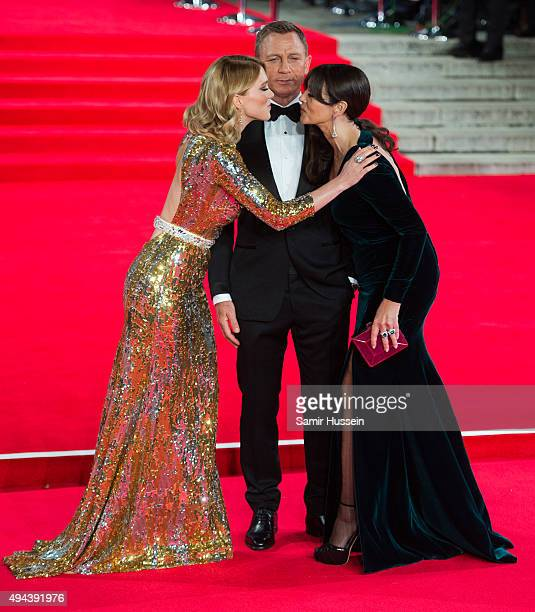 Lea Seydoux Daniel Craig and Monica Bellucci attend the Royal Film Performance of 'Spectre' at Royal Albert Hall on October 26 2015 in London England
