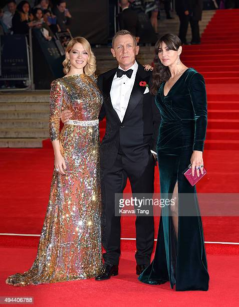 Lea Seydoux Daniel Craig and Monica Bellucci attend the Royal Film Performance of 'Spectre' at the Royal Albert Hall on October 26 2015 in London...