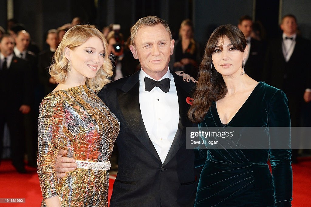 Lea Seydoux, Daniel Craig and Monica Bellucci attend the Royal World Premiere of 'Spectre' at Royal Albert Hall on October 26, 2015 in London, England.