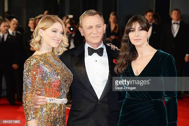 Lea Seydoux Daniel Craig and Monica Bellucci attend the Royal World Premiere of 'Spectre' at Royal Albert Hall on October 26 2015 in London England
