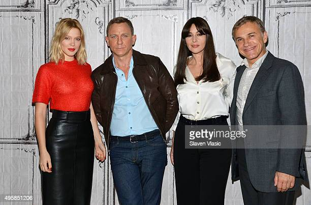 Lea Seydoux Daniel Craig Monica Bellucci and Christoph Waltz visit AOL BUILD to discuss their latest movie in the Bond series 'Spectre' at AOL...