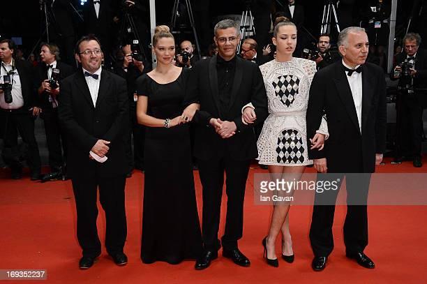 Lea Seydoux director Abdellatif Kechiche and Adele Exarchopoulos attend the 'La Vie D'Adele' premiere during The 66th Annual Cannes Film Festival at...