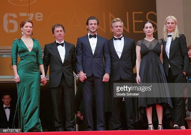 Lea Seydoux director Bertrand Bonello Gaspard Ulliel Jeremie Renier Amira Casar and Aymeline Valade attend the Saint Laurent premiere during the 67th...