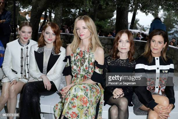 Lea Seydoux Emma Stone Delphine Arnault Isabelle Huppert and Marina Fois attend Louis Vuitton 2019 Cruise Collection at Fondation Maeght on May 28...