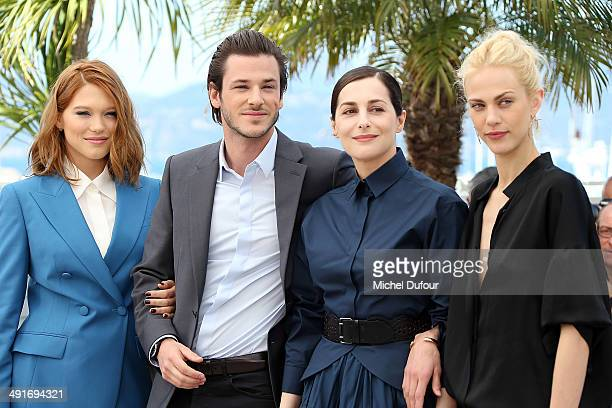 Lea Seydoux Gaspard Ulliel Amira Casar and Aymeline Valade attend Saint Laurent photocall at the 67th Annual Cannes Film Festiva on May 17 2014 in...