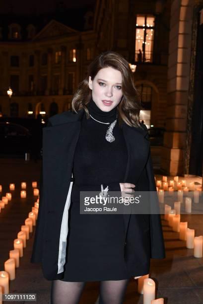 Lea Seydoux is seen arriving at Boucheron dinner on January 20 2019 in Paris France