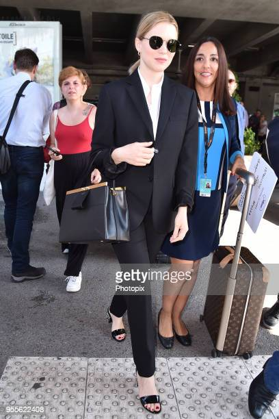 Lea Seydoux is seen arriving at Nice airport during the 71st annual Cannes Film Festival at Nice Airport on May 7 2018 in Nice France