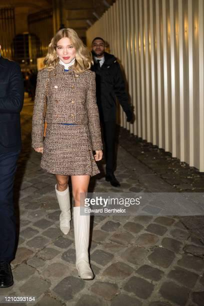 Lea Seydoux is seen outside the Vuitton show, during Paris Fashion Week Womenswear Fall/Winter 2020/2021, on March 03, 2020 in Paris, France.