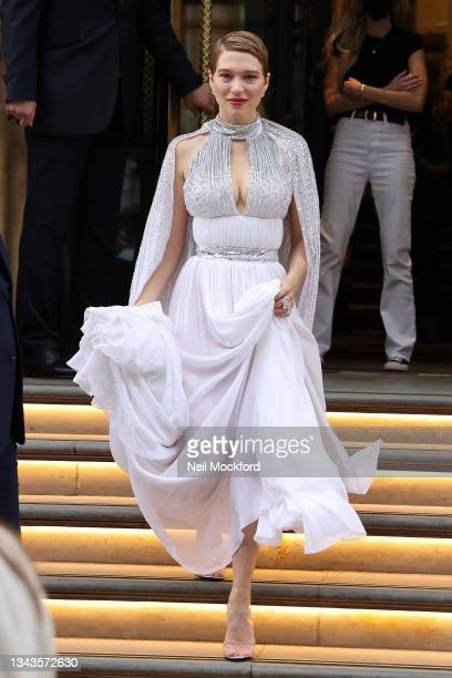 Lea Seydoux leaving the Corinthia Hotel to attend the No Time To Die film premiere at the Royal Albert Hall on September 28, 2021 in London, England.