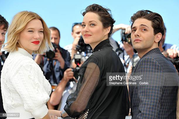 """Lea Seydoux, Marion Cotillard and Xavier Dolan attend the """"It's Only The End Of The World """" Photocall during the 69th annual Cannes Film Festival at..."""