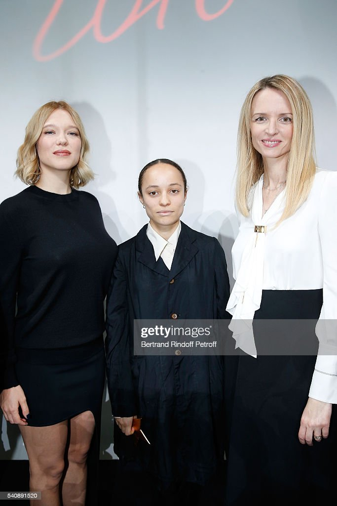 Lea Seydoux, Winner of Prize Grace Wales Bonner and Delphine Arnault attend the LVMH Prize 2016 Young Fashion Designer at Fondation Louis Vuitton on June 16, 2016 in Paris, France.