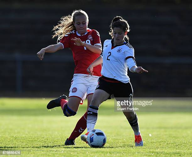 Lea Sophie Bahnemann of Germany is challenged by Lise Dissing of Denmark during the International Friendly match between U16 Girl's Germany and U16...