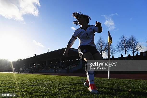 Lea Sophie Bahnemann of Germany takes a corner kick during the International Friendly match between U16 Girl's Germany and U16 Girl's Denmark on...