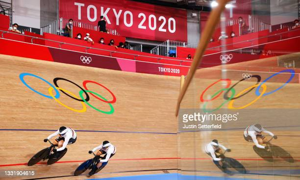 Lea Sophie Friedrich and Emma Hinze of Team Germany sprint during the Women's team sprint first round, heat 4 of the Track Cycling on day 10 of the...