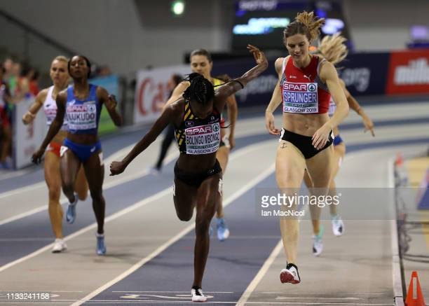 Lea Sprunger of Switzerland on her way to winning the Womens 400m Final during the European Athletics Indoor Championships Day Two at the Emirates...