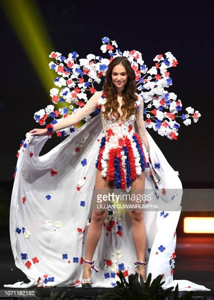 Lea Steflickova Miss Czech Republic 2018 walks on stage during the 2018 Miss Universe national costume presentation in Chonburi province on December...