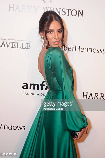 Lea T attends the 5th Annual amfAR Inspiration Gala at the home of Dinho Diniz on April 10 2015 in Sao Paulo Brazil