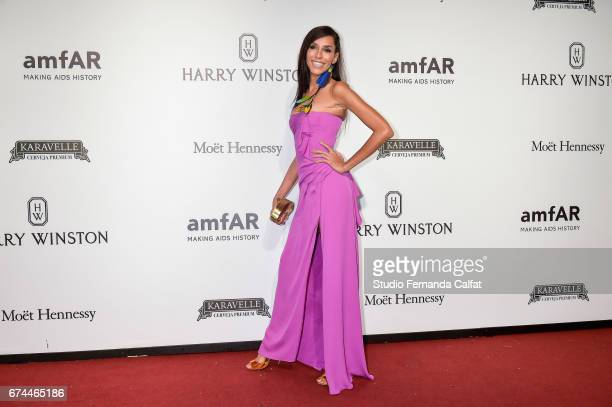 Lea T attends the 7th Annual amfAR Inspiration Gala on April 27 2017 in Sao Paulo Brazil