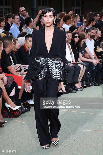 Lea T walks the runway during the Givenchy Menswear Spring/Summer 2017 show as part of Paris Fashion Week on June 24 2016 in Paris France