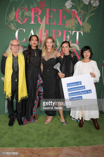 Lea T wearing Stella Jean poses with Auret Van Heerden and Dorothee BaumannPauly of NYU Stern Centre for Business and Human Rights and Kate Fletcher...